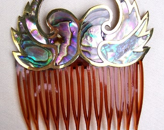 Vintage hair comb Mexican abalone shell lovebirds hair accessory hair slide hair clip hair jewelry hair ornament headpiece headdress (A)