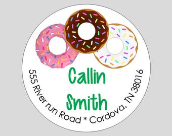 Donut Circle Address labels // Personalized Gift Tags // Doughnut labels