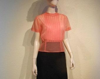 Anniversary Sale 35% Off Devil's Delight - Vintage 1950s Deep Salmon Coral Citrus Sheer Nylon Blouse - 8/10