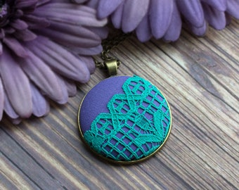 Eclectic Jewelry, Mint And Lavender Bridesmaid, Colorful Necklace, Purple And Green Pendant