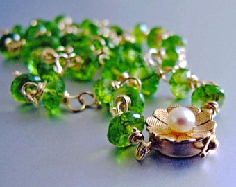 14k Solid Gold Peridot Necklace