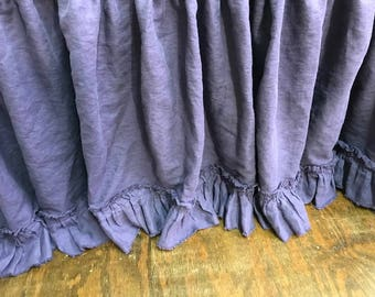 Torn Ruffle Washed Linen Bed Skirt--Queen Bed Gathered Skirt-Purple Linen Gathered Bed Skirt with Torn Ruffle Detail-Shabby Ruffle Bed Skirt