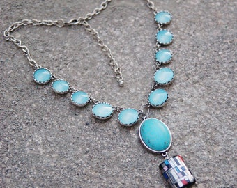 Faux Turquoise Glass Deco Chain Statement Necklace