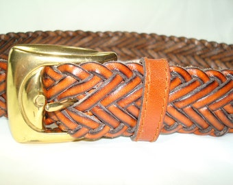 Vintage TALBOTS Brown Braided Leather Belt with Golden Buckle.