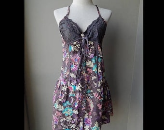 ON SALE ON Sale 90s Brown Lace Shimmer Floral Printed Summer Sundress Dress Bust 36 Waist 32 Hip up to 36