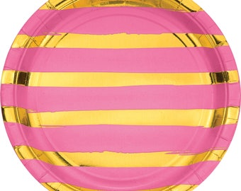 Candy Pink 9 inch Plate with Gold Foil Stripes