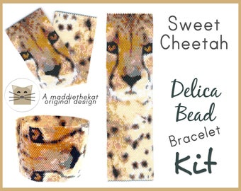 Sweet Cheetah Wide Cuff Bracelet Delica Seed Bead Peyote Pattern or KIT Wild Cat Feline Animal
