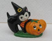Vintage Lefton Halloween Cat and Pumpkin Candle Holder, Mint Condition