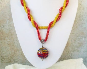 Beaded Crochet Long double Rope Pendant Transformer Beads Y Necklace Red Yellow Blue Glass lampwork Vintage Boho Flapper Style Sautoir