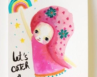 Catch a rainbow - children art, watercolor illustration, rainbow illustration, girl and rainbow, pink,tiny art, girls