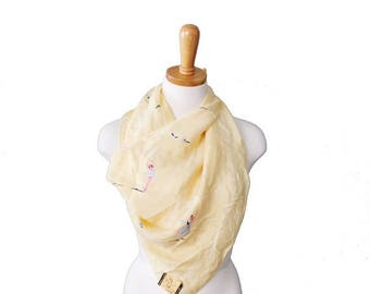 50% half off sale // Vintage 50s Gorgeous Ballet Pattern Yellow Fashion Scarf - Kimball Silk Made in Japan - Large NWT Deadstock