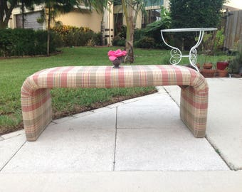 """WATERFALL BENCH / 4 feet Long Upholstered Waterfall Bench / 48"""" x 17"""" x 18"""" tall / Hollywood Regency Style at Retro Daisy Girl"""