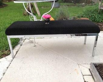 "MILO BAUGHMAN STYLE 48"" Chrome Bench / 48"" long Sleek Chrome Milo Baughman Style Bench / Chrome Bench / Chrome seating at Retro Daisy Girl"