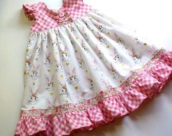 Girls Easter Dress,Bunnies,Wonderland,Girls Spring Dress,Girls Clothing,Little Girls Dress,Pink,Green,Sizes 12MO,18MO,2T,3T,4T,5T,6,7,8