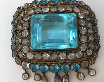 Hobe 1940s Aquamarine Baguette Glass Dangle Brooch Antique Costume Jewelry