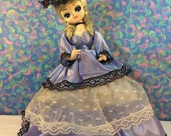 "FINAL 50% OFF Vintage Bradley Doll 12"" Big Eyes Korean Blue Satin Dress Crinoline Lady Bonnet"