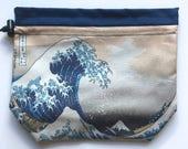 Great Wave Drawstring Knitting Bag