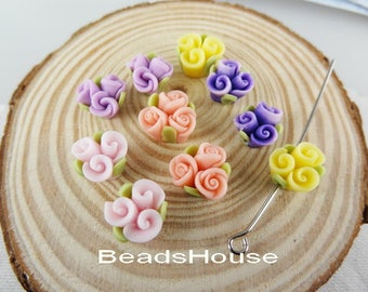 6pcs - (13mm) Unique  Fimo Rose with Hole - Mix- Colour