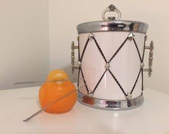 MCM ICE BUCKET DRuM, White Ice Bucket, Vintage Ice Bucket with Tongs, Drum Ice Bucket, Japan, 1960-70's, Vintage Barware at Modern Logic