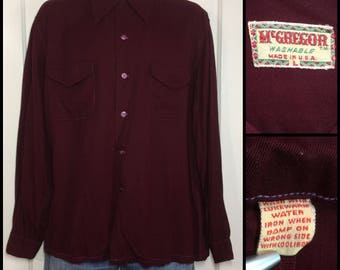 1940s McGregor dark burgundy red gabardine loop shirt size large flap pockets dyed shell buttons Rockabilly Swing