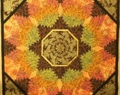 Quilted Wallhanging Lap Quilt Couch Throw Tablecloth autumn colors gold metallic highlights pineapple pattern