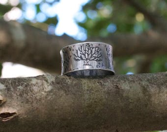 Tree Of Life Sterling Silver Oxidized Woodland Rustic Boho Wide Band Artisan Silversmith Nature Ring