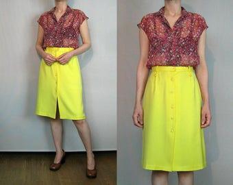 Lemon Brushed Cotton Button Skirt / 80s Yellow Button Down Skirt / Lemon Yellow Pencil Skirt / Yellow Cotton Skirt