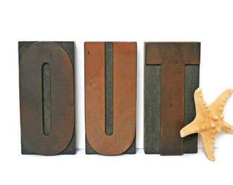 Vintage Wood Letters  /  Large Wood Alphabet  /  Exit Sign  /  Letterpress  /  Office Home Decor  /  Out Sign  /  Get Out Signage