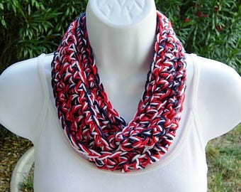 Red White and Blue SUMMER SCARF 4th of July Small Infinity Loop Soft Lightweight Crochet Necklace, Skinny Knit Cowl..Ready to Ship in 2 Days
