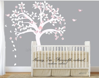 wall decal nursery girl Nursery tree decal - white tree decal - baby wall decal   tree wall sticker kid wall decal tree branch decor