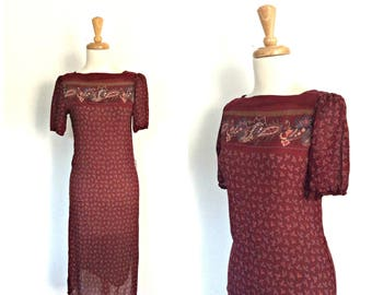Vintage 70s Disco Dress - shift dress -red dress -fitted -semi sheer -party dress - XS S
