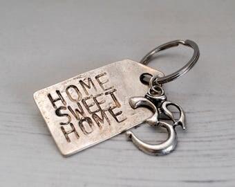 Home Sweet Home Keychain Om Symbol Keyring Yoga Key Ring