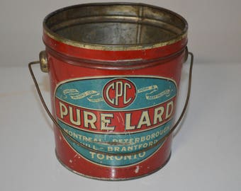 Vintage advertising tin - Pure Lard - pail bucket - red Canadian Packers Comoany CPC