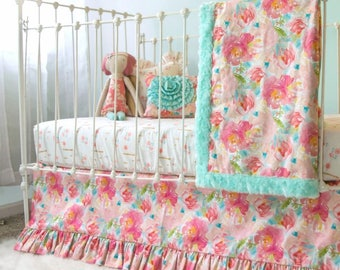 Pink and aqua watercolor floral ruffle baby blanket, Pastels and Peonies baby girl bedding, bumperless crib bedding set for girls