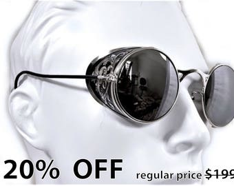 Steampunk Goggles Aviator Sunglasses Silver Side Shields Victorian engrave vintage Driving glasses Zeiss Mirror Silver Shade