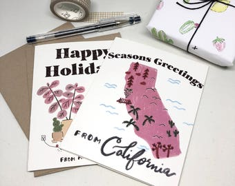 2 Card Bundle | Happy Holidays from me and my Plants + Seasons Greetings from California, Holiday Card, Holiday Bundle,Christmas Card Set