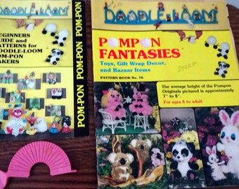 Doodle Loom Pom Pom Fantasies Book, & Beginners Guide with one Pom Pon maker