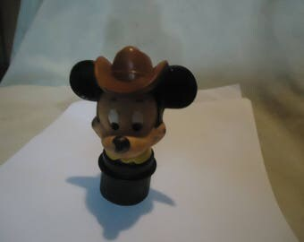 Vintage Mickey Mouse With Cowboy Hat Plastic Stopper, collectable, Walt Disney