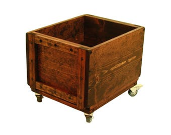 Rolling Wood Crate, Wooden Box on Wheels, Mobile Storage Bin, Rolling Wooden Box, Toy Box on Wheels