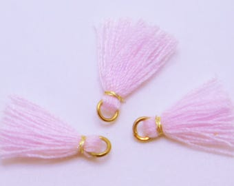 Mini Cotton Jewelry Tassels with Gold Binding and Gold Plated Jump Ring, Pale Pink Tassels, 3 pcs - Approx 10mm - MT21