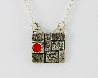 "Handcrafted Sterling Silver ""Cobblestone"" Pendant Red Coral Cabochon Contemporary One of a Kind Artisan Jewelry Design 3773652032017"