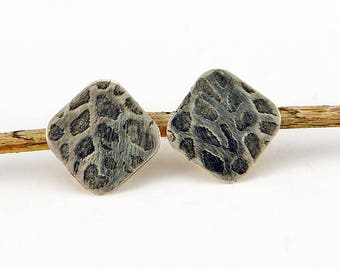Handcrafted Square Sterling Silver Post/Stud Earrings Sea Fan Animal Print Texture Contemporary Artisan Jewelry Design 418866204617