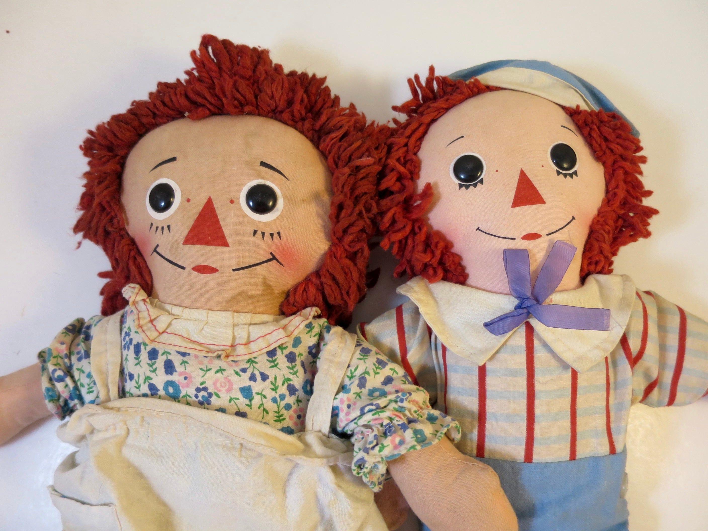 vintage raggedy ann andy dolls knickerbocker 15 inch ann and