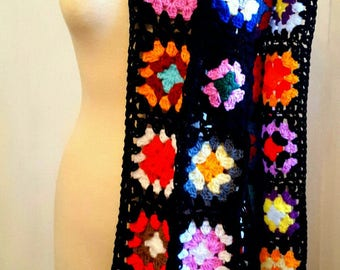 Iconic Granny Squares Scarf Black Crochet Traditional Made To Order