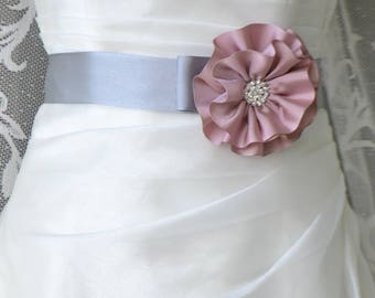 Handcraft Gray and Pink Grograin Flower Wedding Dress Bridal Sash Belt Wedding Accessories