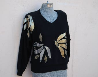 Vintage 1980's Glamour Sweater with Metallic and Bead Detail