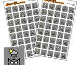 """Typical British Weather - weather planner sticker sheet - square icon stickers 12mm / 0.5"""" - 80 stickers - 5 designs - cat stickers - grey"""