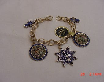 Vintage Semi Precious Stones Charm Bracelet With Original Hang Tag  18 - 218