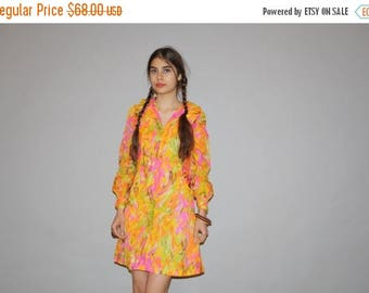 On SALE 35% Off - Vintage 1960s  Neon Mod Psychedelic Short Hippie Gogo Shirt Dress  -  1960s Dresses  - WD0831