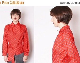 FLASH SALE - Vintage Red 1970s Belted Blouse / Vintage Blouse / Red Blouse / Paisley / Office Fashion / 1766